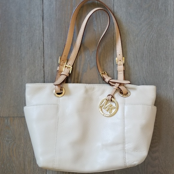 d9bbef5f28b9 cheap michael by michael kors cream leather tote bag 40222 ce3e3